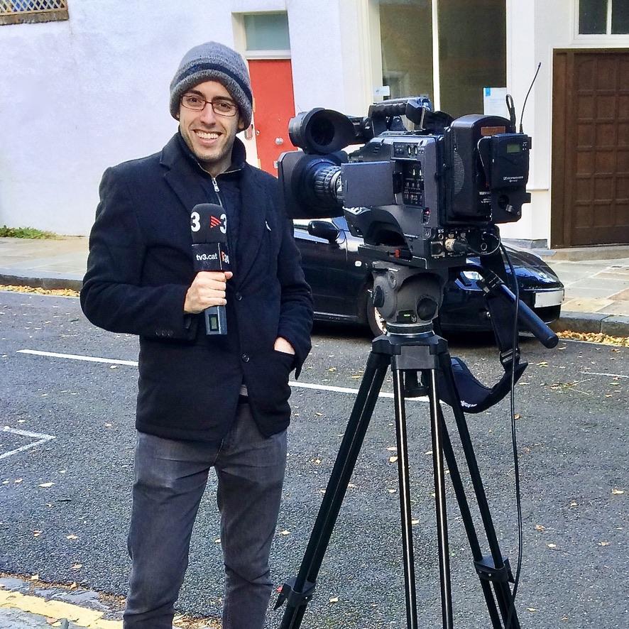 Albert, testing broadcast equipment for TV3 Televisió de Catalunya in London.